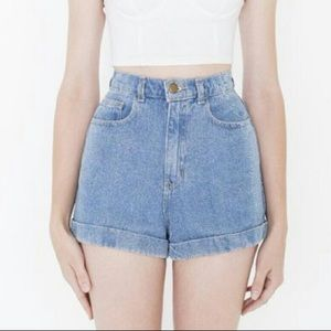 American apparel light wash high waisted shorts